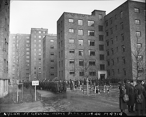 Public housing on hold -- during World War II, the newly opened Fort Greene Houses was pressed into service as housing for military personnel and civilians engaged in war work at the nearby Brooklyn Navy Yard, January 19, 1944. Post-war, the project was restored to its original objective -- low-rent housing for New Yorkers. <br> ID# 02.003.04714