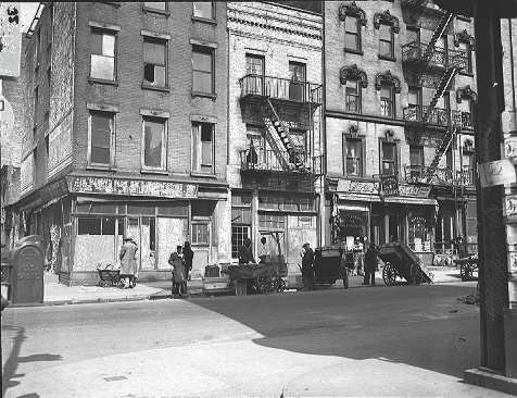 East 114th Street between 3rd and Park Avenues in East Harlem, March 26, 1945, future site of James Weldon Johnson Houses.  ID# 02.003.05494