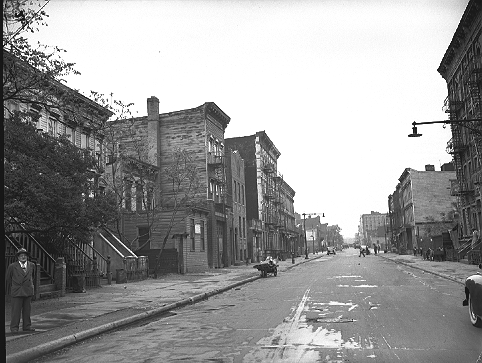Osborn Street between Dumont and Sutter Avenues in Brownsville, Brooklyn, May 18, 1945. These buildings were razed for the 19-acre Brownsville Houses, completed in 1948.  ID# 02.003.05584