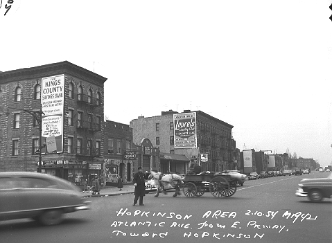 Atlantic Avenue from Eastern Parkway toward Hopkinson Avenue in Brooklyn, February 10, 1954.  ID# 02.003.19421
