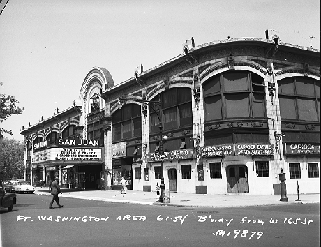 The San Juan concert hall once stood on Broadway at the corner of West 165th Street in Washington Heights, Manhattan, June 1, 1954. It is better known as the Audubon Ballroom, where on February 21, 1965, Malcolm X was assassinated while giving a speech at a rally of the Organization of Afro-American Unity. The Audubon was built in 1912 as a vaudeville and movie theater by William Fox, who founded the Fox Film Corporation (later 20th Century Fox). When Columbia-Presbyterian tore down the building to construct a medical facility, the Broadway facade of the Audubon was kept intact.  ID# 02.003.19879