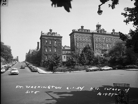 Looking south along Fort Washington Avenue (left) from West 166th Street in Washington Heights, Manhattan, June 1, 1954. These 19th century buildings were the original Columbia-Presbyterian Hospital. They were torn down and replaced with a modern medical center. ID# 02.003.19892