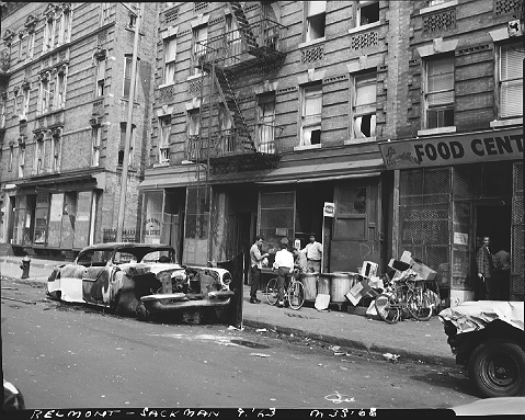 Belmont Avenue and Sackman Street in Brownsville, Brooklyn, September 1963. These tenements were razed to build the 1968 Langston Hughes Apartments. 