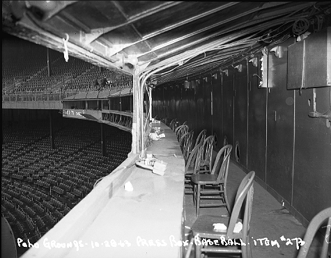 The Polo Grounds press box for baseball games, October 28, 1963. The stadium was home to the New York Giants from 1890 until 1957 when they moved to California. The New York Yankees played there 1913-1922 and the New York Mets, 1962-63. The stadium was torn down in 1964 and public housing was built on the site.  ID# 02.003.38428