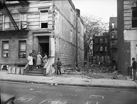 "This October 1965 photograph is labeled ""Sutter -- Strauss,"" a site in Brownsville, Brooklyn, near the intersection of Sutter Avenue and Strauss Street that was once considered for redevelopment.  ID# 02.003.40747A"