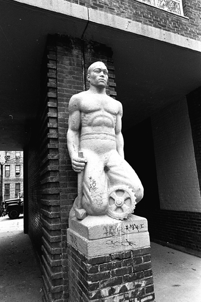 Sculpture at Harlem River Houses in Manhattan dating from the 1930s (picture taken November 19, 1985). This and other kneeling figures at the Harlem project were sculpted by Heinz Warneke for the U.S. Treasury Relief Art Project.
